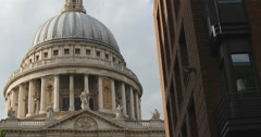 Dome of St Pauls next to modern building 4K Stock Footage