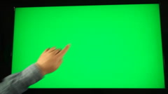 Hand Drawing A Heart On A Big Green Screen, Technology, Future, Communication Stock Footage