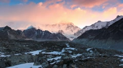 Timelapse sunrise in the mountains Cho Oyu, Himalayas, Nepal. FULL HD Stock Footage