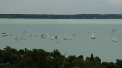 Blue Ribbon Sailing Boat Race in Lake Balaton Hungary 6 Stock Footage