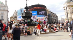 People at Picadilly Circus Stock Footage