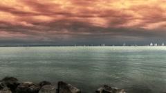 Blue Ribbon Sailing Boat Race in Lake Balaton Hungary 13 stylized Stock Footage