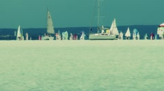 Blue Ribbon Sailing Boat Race in Lake Balaton Hungary 14 stylized Stock Footage