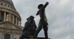War memorial in front of St Pauls 4K Stock Footage