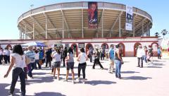 Plaza Monumental Tijuana Bullring outside sunny Stock Footage