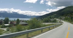 4k scenic drive, sognefjord, norway Stock Footage