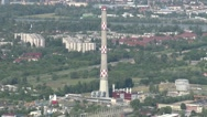 Stock Video Footage of Budapest Hungary Aerial View 38 northern part smoke stack