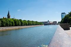 City waterfront on summer day Stock Photos