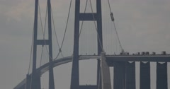 4k, traffic on oeresundbridge between danmark and sweden Stock Footage