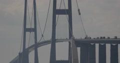 4k, traffic on oeresundbridge between danmark and sweden - stock footage