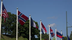 Flags of the European countries and the USA. 4K. Stock Footage