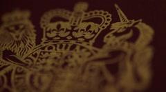 Macro of British Passport Stock Footage