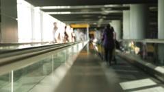 Airport Flat Escalator/Tavelator forwards Stock Footage