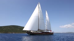 Sailing with longest wooden yacht Stock Footage