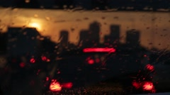 London skyline from car at sunset Stock Footage