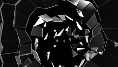 Cracked and Shattered black glass. Alpha is included Stock Footage