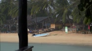 Stock Video Footage of Restaurant on the Beach under Rain. Bad Stormy Weather.