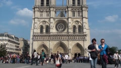Front of Notre Dame Church view Stock Footage