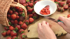 Cleaning strawberries jor jam making Stock Footage