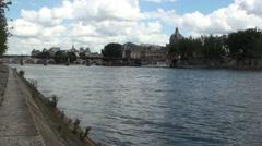 Quai des Tuileries - Seine River Stock Footage
