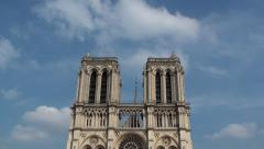 Front view of Notre Dame Church with sky behind Stock Footage