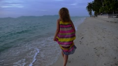 Happy Woman Running, Calling and Seducing on the Beach. Slow Motion. Stock Footage