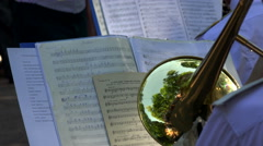 Brass band. The pipe. Notes. 4K. Stock Footage