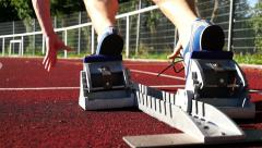 Sprint start in track and field Stock Footage
