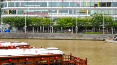 4k UHD time lapse video on river cruising on bumboats, Singapore Stock Footage