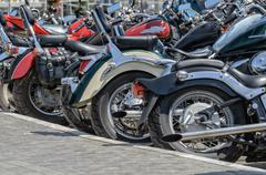 Group of motorcycle parking Stock Photos