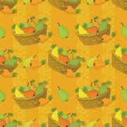 Seamless pattern, baskets and fruits pears - stock illustration