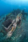 Winch and anchor chain of the ss thistlegorm shipwreck. red sea, egypt. Stock Photos