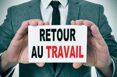 retour au travail, back to work in french - stock photo