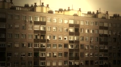 Concrete Block of Flats 13 stylized pan Stock Footage