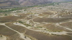 Aerial view of Lost Hills oil donkeys Stock Footage