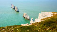 The Needles Isle of Wight landmark by Alum Bay tourist attraction Stock Photos