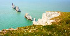 Stock Photo of The Needles Isle of Wight landmark by Alum Bay tourist attraction
