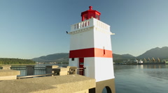 Sunrise Brockton Point Lighthouse, Burrard Inlet Stock Footage