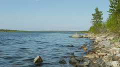 Northern landscape with imandra lake with rocky shore. russia Stock Footage