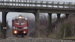 Stock Video Footage of 1938 Standard Railcar under overbridge 4k