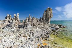 tufa formation in mono lake, california - stock photo