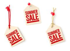 collection of tags with the text summer sale - stock photo