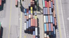 Aerial view of Los Angeles shipping port Stock Footage