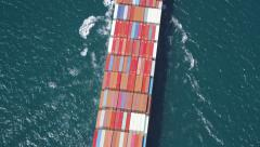 Aerial shot of container ship at sea - stock footage