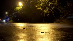 Night Road After Rain with Cars and Motor Cycles. Stock Footage