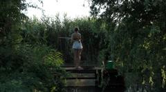 Woman on fishing Stock Footage