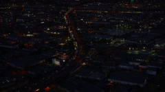 Stock Video Footage of Aerial view of Los Angeles freeway traffic at night