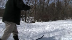 MAN SKIING ON TRAIL Stock Footage
