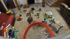 Toddler Playing Basketball Stock Footage