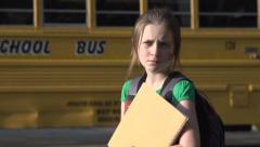 Reluctant school girl Stock Footage